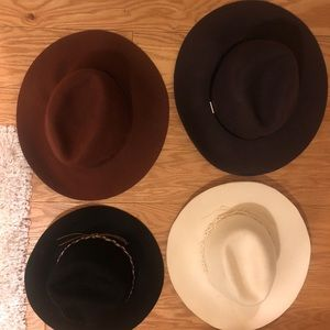 Flat brim felt hat bundle